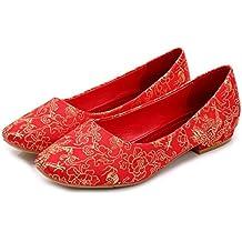 BBSLT-Women'S Dragon Et Phoenix Brocard Chinois Mariage Faible Talon Golden Silk Embroidery Ligne Cheongsam Chaussures Femelle