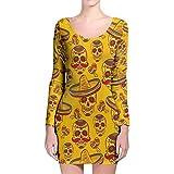 Azúcar de calaveras mexicanas en oro manga larga Bodycon vestido -  Amarillo -