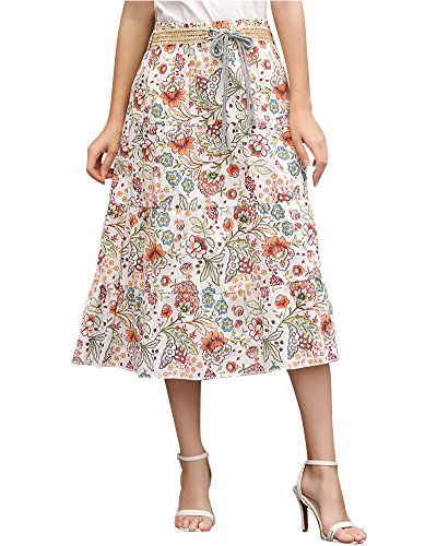 Quge Ladies Skirt Women's Summer Long Skirt Layered Look A-Line Flower Print Midi Skirt