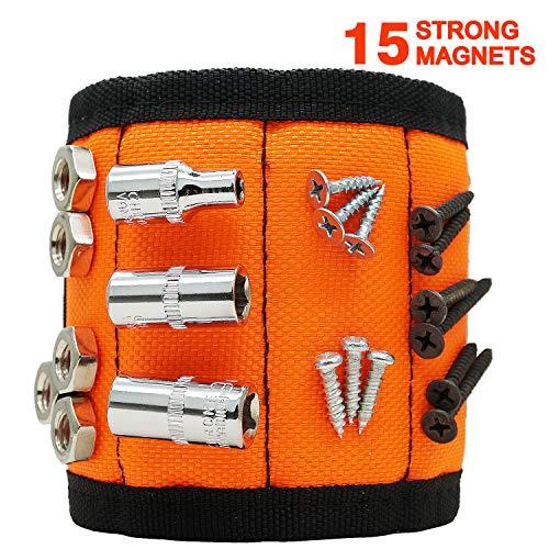 Magnetisches Armband, Abida Magnetisches Armband mit 15 leistungsstarken Magneten zum Halten, Schrauben, Nägeln, Schrauben, Bohrern, spezielles Geschenk für Herren - Orange