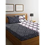 MAFATLAL 180 TC 100% Fine Cotton Double Bedsheet With 2 Pillow Covers Double Queen, Printed White Colour. Quality Cotton Latest Double Bed Sheets