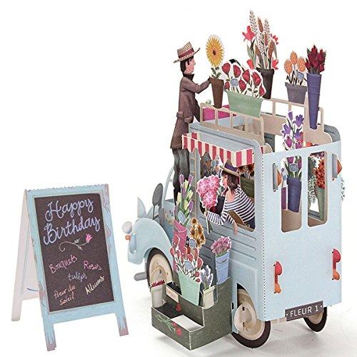 Bluelover 3D Pop Up Car of Flower Grußkarten Happy Anniversary Birthday Einladungen