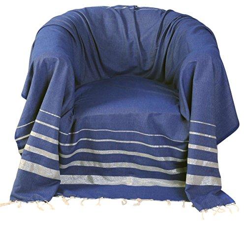 Fouta Futée Sessel-Überwurf, quadratisch aus Baumwolle Boden blau/Silber 200x 200cm