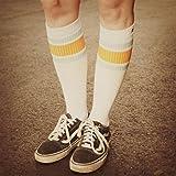 Endless Summer Hi | Hohe Retro Socken mit Streifen von Spirit of 76 | Weiß, Türkis & Oranges gestreift | stylische Unisex Kniestrümpfe Größe M (39-42)