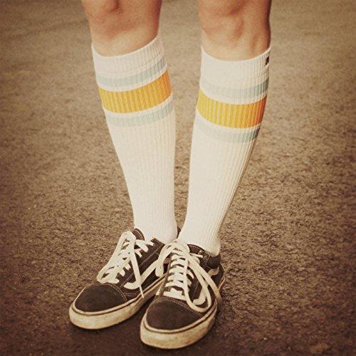 e bike damen retro Endless Summer Hi | Hohe Retro Socken mit Streifen von Spirit of 76 | Weiß, Türkis & Oranges gestreift | stylische Unisex Kniestrümpfe Größe M (39-42)