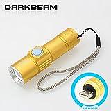darkbeam 7W Taschenlampen Laterne Mini LEDs Handheld Taschenlampen zoomablle Wasserdicht und wiederaufladbar Tactical Taschenlampen, Camping, Outdoor, Wandern, Notfall (USB Taschenlampe Gold)