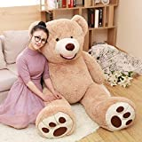 DOLDOA Riesen Teddybär 130cm Groß Plüschbär XXL Teddy Kuschelbär Valentins Geschenk für Freundin Kinder Braun