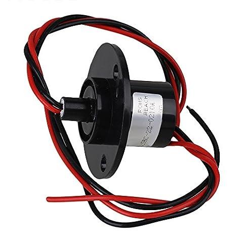 bqlzr 43,9mm Noir 2fils 500RPM AC/DC 240V 10A en métal Platic hattype Capsule Anneau antidérapant pour équipements électroniques