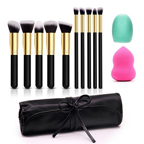 Schwarz Make-up-kit (Make Up Pinsel Set 10+2PCS Professionelles Kosmetik Pinsel sets Foundation Blending Blush Eyeliner Gesicht Pulver Pinsel Make-up Pinsel Kit Schwarz und Gold)