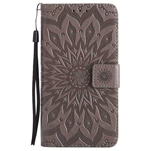 DENDICO Galaxy J7 2017 Hülle, Premium Leder Wallet Tasche Etui Sonnenblume Prägung Hülle mit Magnetverschluss, Flip Brieftasche Handy Schutzhülle für Samsung Galaxy J7 2017 - Grau