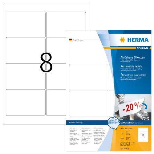 Herma 10308 Universal-Etiketten (A4 Movables/ablösbar Papier matt, 96 x 63,5 mm) 800...