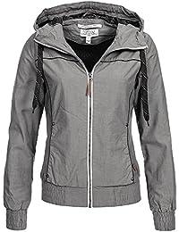 Eight2Nine Damen Jacke Übergangsjacke LETN-008 mit Kapuze Blouson,  Kontrast-Zipper 1dbd3e32e0