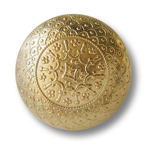 Knopfparadies - 5er Set wunderschöne filigran gemusterte glänzend Goldfarbene Metallknöpfe in Halbkugel Form/Schwerer gearbeitet/Glänzend goldfarben/Metall Knöpfe/Ø ca. 14mm