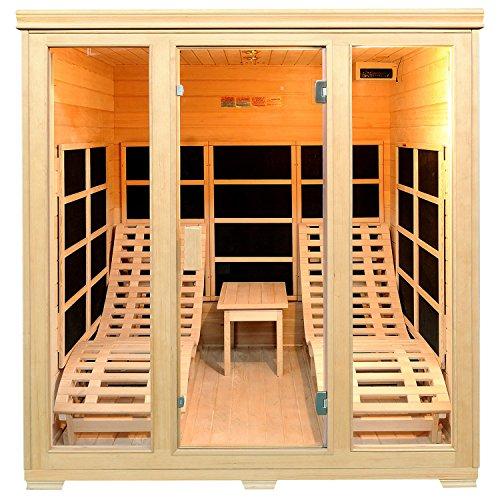 Infrarotkabine/Wärmekabine Billund Flächenstrahler & Hemlockholz | Infrarotsauna mit 2 Relaxliegen für 2 Personen | ArtSauna