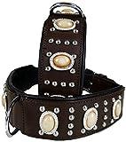 Lederhalsband Empire - Rinderleder - Braun mit cremefarbenen Steinen - extra breit - Dogs Stars