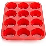 Latas de muffin pan Moldes de Silicona para Horno y cafetera 12tazas (Rojo)