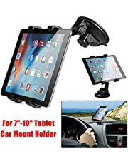 """BOKA® Universal [Car Front Tablet Holder] for Dashboard/Windshield with Headrest Suction Cup (4 Lock Arms) for Both Mobile Phones and IPad Galaxy Tablets Use Size 4""""-10.1"""" Inch- Black"""