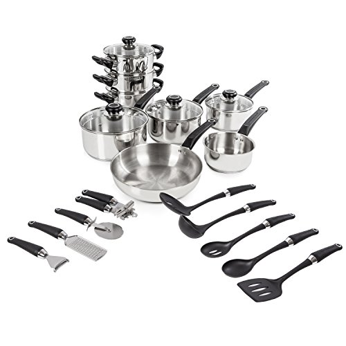Morphy Richards Equip Set 8 Piece Pan and 9 Piece Tool Set - Stainless Steel