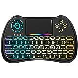 2,4GHz Mini clavier sans fil avec souris Touchpad rechargeable combos rétro-éclairé pour coloré pour Google Android TV Box, Kodi, HTPC, IPTV, PC, PS3, Xbox 360, Raspberry Pi 3, NVIDIA Shield Tvpc, Pad