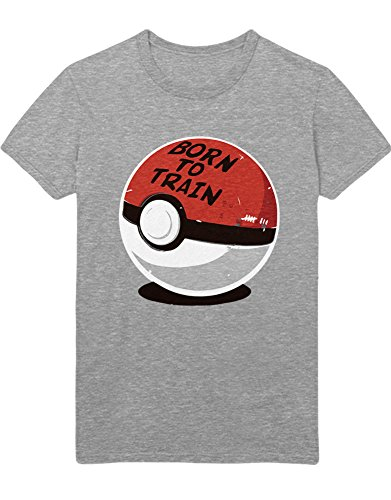 T-Shirt Poke Go Poke Ball Born to Train Team Rocket Jessie James Mauzi Kanto 1996 Blue Version Pokeball Catch 'Em All Hype X Y Blue Red Yellow Plus Hype Nerd Game C210004 Grau L (Jessie Und James Kostüm)