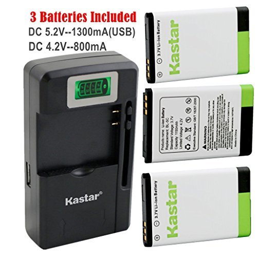Kastar BL-5C Battery (3-Pack) and intelligent mini travel Charger ( with high speed portable USB charge function) for NOKIA 1100 2112 2270 2280 2285 2300 2600 2850 3100 3105 3120 3600 3620 3650 3660 5140 6108 6280 5030 5130 6030 6085 6086 6230 6230i 6267 6270 6555 6600 6630 6670 6680 6681 6820 6822 7600 7610 E50 E60 N70 N70 MusicEdition N71 N72 N91 N91 8GB N-Gage XpressMusic Degen and Meloson Port  available at amazon for Rs.5299
