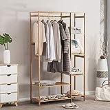 GYJ Kleiderständer Kleiderständer 3 in 1 Multifunktions Boden stehend Bambus Kunst Kleiderbügel Lagerregale Schlafzimmer Kleiderständer Kleiderbügel 145 * 90cm Stall und langlebig, Kleidung Baum
