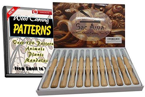 SAC AWA Holz Werkzeug Messer Set. SK7Carbon Stahl Ergonomische 12Stück Messer Kit. Umfasst 500+ Carving Muster