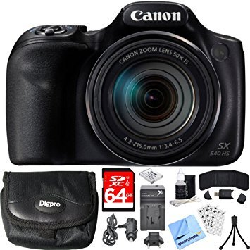 Canon PowerShot SX540 HS 20.3MP Digital Camera w/ 50x Optical Zoom 64GB Card Bundle includes Camera, Card, Wallet, Case, Mini Tripod, Screen Protectors, Cleaning Kit, Beach Camera Cloth and More!