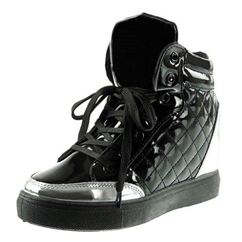 Angkorly Damen Schuhe Sneaker Keilabsatz - Hohe - Gesteppt Schuhe - Patent Keilabsatz 7 cm - Schwarz AN-20 T 40
