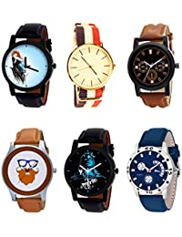 NIKOLA Brand New Love Mahadev Beard Style Black Blue And Brown Color 6 Watch Combo (B22-B50-B30-B55-B23-B56) For...