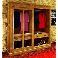 Casa-Padrino Luxury Wardrobe B 226 x H 220 cm Haute Couture Bedroom Closet with Glass Sliding Door - Art Deco Art Nouveau Hotel Furniture, Color:Negro Pintado - Comparador de precios