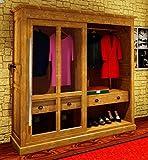 Casa Padrino Luxus Kleiderschrank B 226 x H 220 cm Haute Couture Schlafzimmer Schrank mit Glas Schiebetür - Art Deco Jugendstil Hotel Möbel, Farbe:Schwarz Lackiert