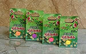 Vidya Non-Toxic Herbal Organic Holi Colours Gulal Holi Rangoli Color Powder Pack of 4 Assorted Colors (100 Grams Each)