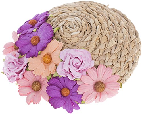 Vintage OLIVA Rosen Floral DAISY Straw Stroh PILLBOX Hütchen Fascinator Rockabi (Pb Bettwäsche)