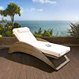 Outdoor 2 Person Garden Hanging Chair Brown Rattan Cream Cushion 2014