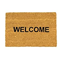 Nicola Spring Non-Slip Coir Door Mat - 60 x 90cm - Welcome - PVC Backed Welcome Mats Doormats