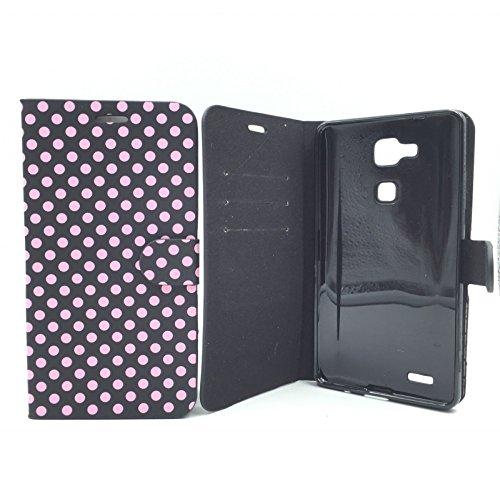 Roi Boutique Étui (Paysage) Wallet Rockabilly Étui de protection à rabat Bumper Support couleurs assorties/différents modèles Noir / Rose