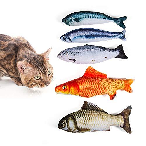 WolinTek Spielzeug mit Katzenminze, 5 Stück 20CM Fisch Katzenminze Spielzeug Katze Interaktive Spielzeug Kauen Spielzeug Set Haustiere Kissenfür Katze/Kitty/Kätzchen -