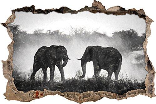 Les éléphants de combat effet de charbon de bois percée de mur en 3D look, mur ou format vignette de la porte: 62x42cm, stickers muraux, sticker mural, décoration murale