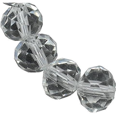 PandaHall-Perline di Vetro Fatto a Mano, Cristallo Austriaco, Abaco Sfaccettato, Chiaro,8x6mm, Foro: 1mm; circa 72pcs/filo