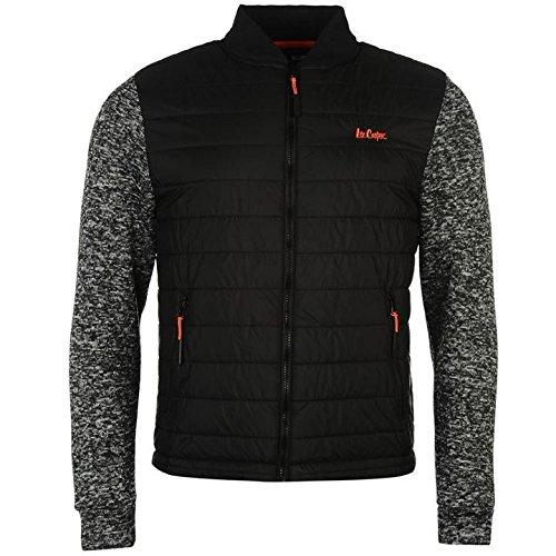 Lee Cooper imbottito in maglia giacca Bomber da uomo nero giacche Coats Outerwear, Black, S