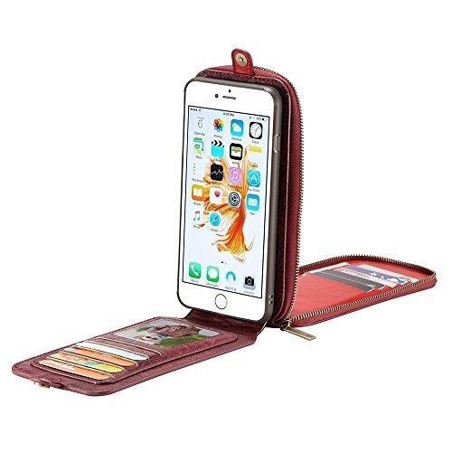 Buona Casa- CaseMe per iPhone 6 Plus e 6s Plus PU Crazy Horse Custodia in pelle con copertura posteriore estraibile con fessura magnetica e slot per carte e portafogli e cordicella e telaio foto ( Col Dark red