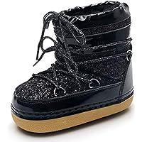Zapatos Invierno Mujer Botas De Nieve,Matriz-Subordinada Europeos Y Americanos Espacio Negro Botas De Invierno Thick-Soled Lentejuelas Suave Caliente Tubo Medio Cómodo Botas De Algodón Resistente A