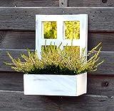 amadeco Wunderschönes kleines Spiegelfenster zum Bepflanzen - Sprossenfenster - Holzfenster - mit Kleiner Tafel - Spiegel - Hinstellen oder Aufhängen - Landhaus Shabby Chic Vintage