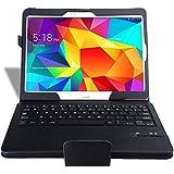 Kingtop Caso Cartera Teclado Samsung Galaxy Tab S 10.5 Ultra-delgado de la alta calidad Bluetooth - teclado desmontable de Bluetooth del caso del soporte / cubierta (Negro)