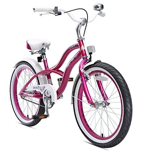 BIKESTAR Premium Sicherheits Kinderfahrrad 20 Zoll für Mädchen ab 6 - 7 Jahre ★ 20er Kinderrad Cruiser ★ Fahrrad für Kinder Violet