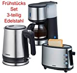 Melissa Design Edelstahl - GOOD Morning - Frühstücksset Kaffeemaschine + Wasserkocher + 1-Schlitz-Toaster (SINGLE SET)