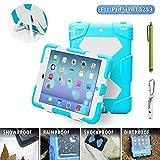 iPad Mini 1/2/3 Hülle ACEGUARDER Silikon Stoßfest Schutzhülle Case Cover Gehäuse Kinder mit Ständer und Integriertem Display Schutzfolie für Apple iPad Mini 1/2/3 Tablet (Hellblau Weiß)
