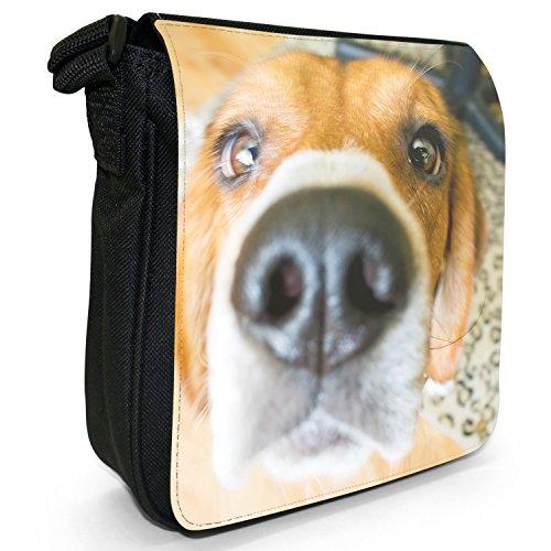 Beagle Dog-Borsa a spalla piccola di tela, colore: nero, taglia: S Nero (Beagle Dog Looking Up)