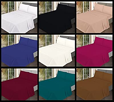 Flat Sheets Premium Quality Plain Dyed Poly-Cotton Colorful Bedding Sheets - inexpensive UK light shop.